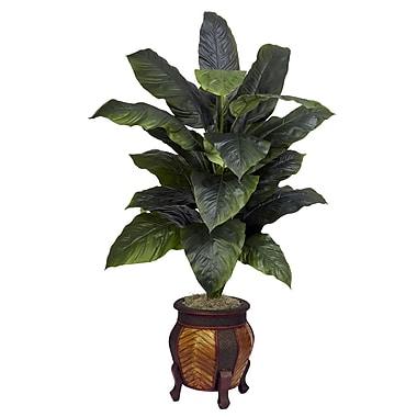 Nearly Natural 6695 Giant Spathyfillum Silk Floor Plant in Decorative Vase