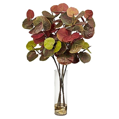 Nearly Natural 6698 Giant Sea Grape Leaf Floor Plant in Decorative Vase