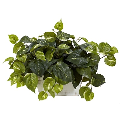 Nearly Natural 6713 Pothos Plant in White Wash Planter
