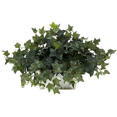 Nearly Natural 6715 Ivy Plant in White Wash Planter