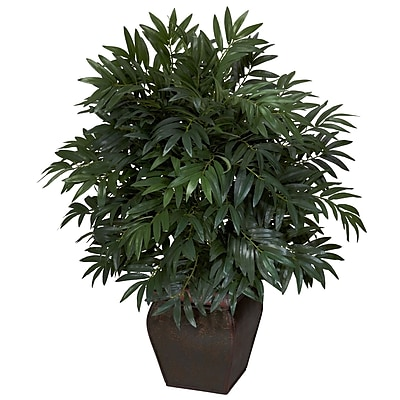 Nearly Natural 6718 Double Bamboo Palm Floor Plant in Decorative Vase