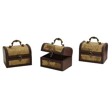 Nearly Natural 0545-S3 Deco Chest with Map Set of 3