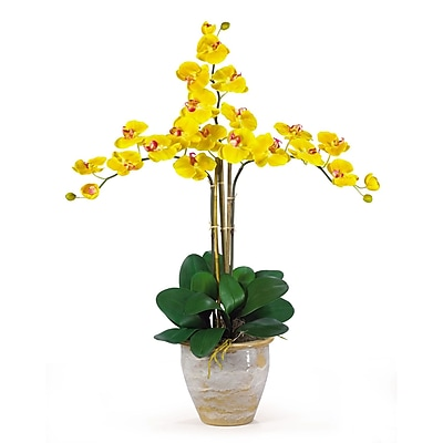 Nearly Natural 1017-GY Triple Phalaenopsis Floral Arrangements, Yellow