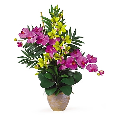 Nearly Natural 1071-OG Phal Dendrobium Floral Arrangements, Orchid green