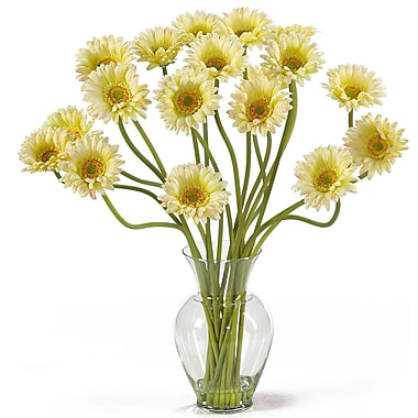 Nearly Natural 1086-CR Gerber Daisy Floral Arrangements, Cream