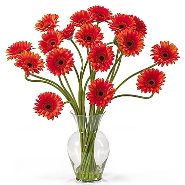 Nearly Natural 1086-OR Gerber Daisy Floral Arrangements, Orange