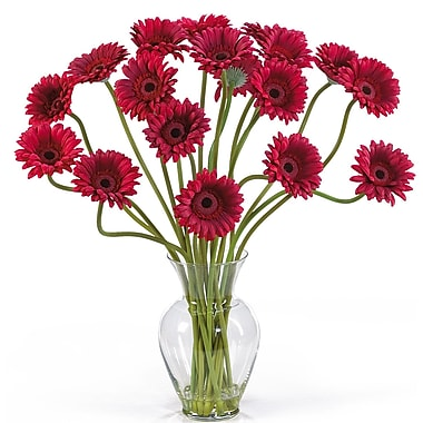 Nearly Natural 1086-RD Gerber Daisy Floral Arrangements, Red