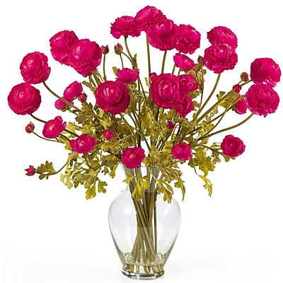 Nearly Natural 1087-BU Ranunculus Floral Arrangements, Beauty pink