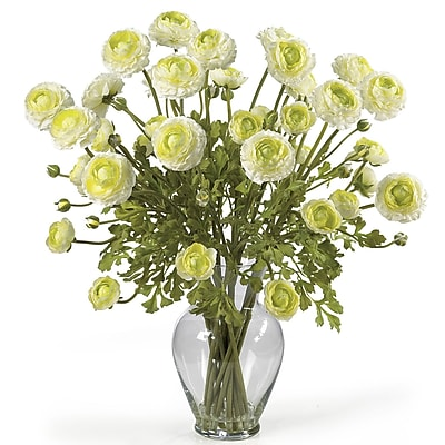 Nearly Natural 1087-CR Ranunculus Floral Arrangements, Cream