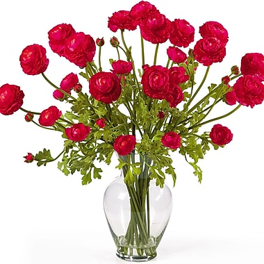 Nearly Natural 1087-RD Ranunculus Floral Arrangements, Red