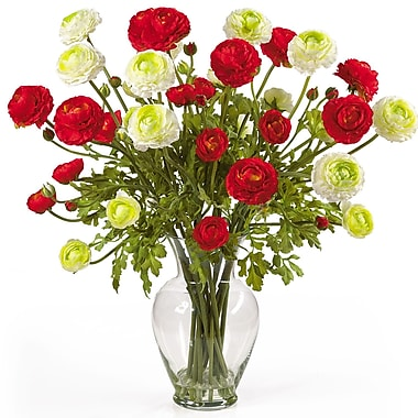 Nearly Natural 1087-RW Ranunculus Floral Arrangements, Red/White