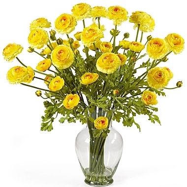 Nearly Natural 1087-YL Ranunculus Floral Arrangements, Yellow