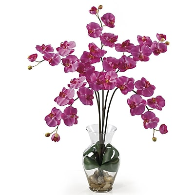 Nearly Natural 1106-DP Phalaenopsis Silk Floral Arrangements, Dark pink