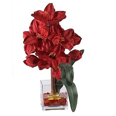 Nearly Natural 1110 Amaryllis Liquid Illusion Silk Flower Arrangements, Red