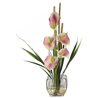 Nearly Natural 1118-PK Calla Lilly Floral Arrangements, Pink