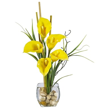 Nearly Natural 1118-YL Calla Lilly Floral Arrangements, Yellow