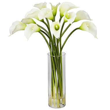 Nearly Natural 1187-CR Mini Calla Lily Arrangements, Cream