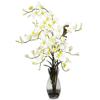Nearly Natural 1190-CR Dendrobium Arrangements, Cream