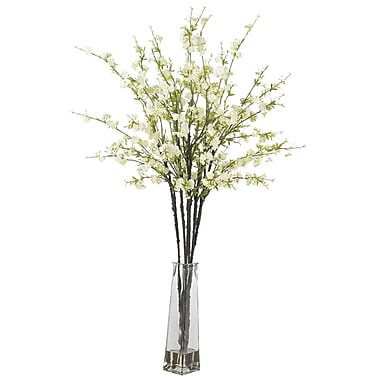 Nearly Natural 1193-WH Cherry Blossoms Floral Arrangements, White