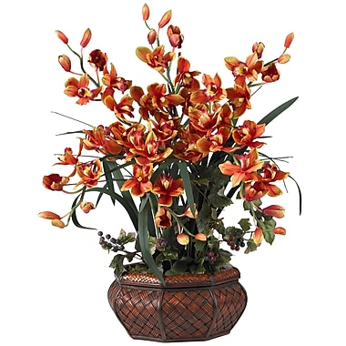 Nearly Natural 1199-BG Large Cymbidium Floral Arrangements, Burgundy