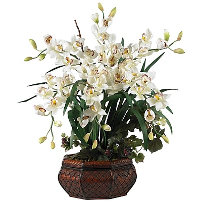 Nearly Natural 1199-WH Large Cymbidium Floral Arrangements, White
