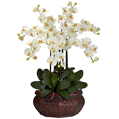 Nearly Natural 1201-CR Large Phalaenopsis Floral Arrangements, Cream