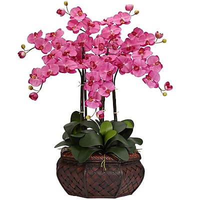 Nearly Natural 1201-DP Large Phalaenopsis Floral Arrangements, Dark pink