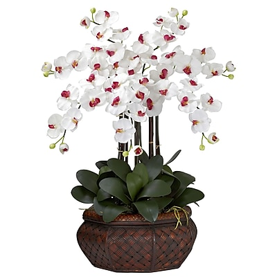 Nearly Natural 1201-WH Large Phalaenopsis Floral Arrangements, White