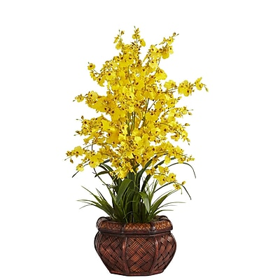 Nearly Natural 1207-YL Dancing Lady Floral Arrangements, Yellow