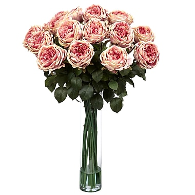 Nearly Natural 1219-PK Fancy Rose Floral Arrangements, Pink