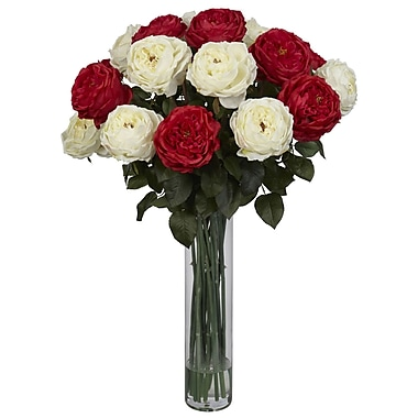 Nearly Natural 1219-RW Fancy Rose Floral Arrangements, Red/White