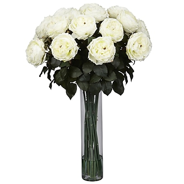 Nearly Natural 1219-WH Fancy Rose Floral Arrangements, White