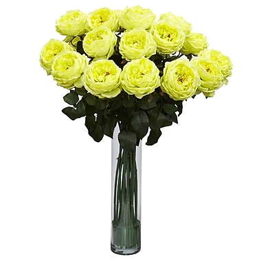 Nearly Natural 1219-YL Fancy Rose Floral Arrangements, Yellow