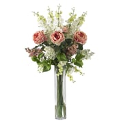 Nearly Natural 1220 Rose Delphinium and Lilac Floral Arrangements
