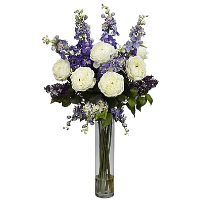 Nearly Natural 1220-PP Rose Delphinium and Lilac Floral Arrangements, Purple