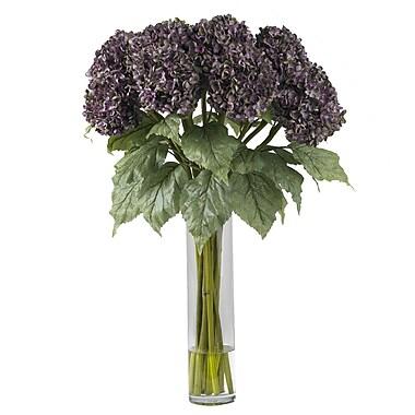 Nearly Natural 1221-PP Hydrangea Floral Arrangements, Purple