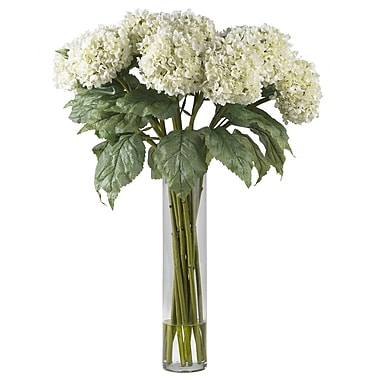 Nearly Natural 1221-WH Hydrangea Floral Arrangements, White
