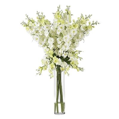 Nearly Natural 1224-WH Delphinium Floral Arrangements, White
