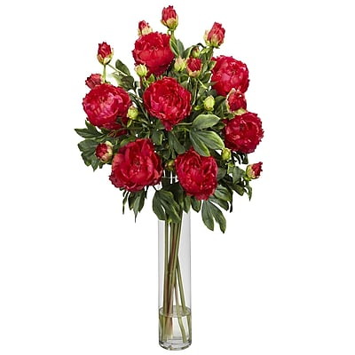 Nearly Natural 1230-RD Peony with Cylinder Floral Arrangements, Red