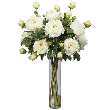 Nearly Natural 1230-WH Peony with Cylinder Floral Arrangements, White