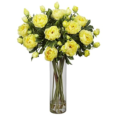 Nearly Natural 1231-YL Giant Peony Floral Arrangements, Yellow