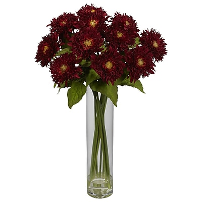 Nearly Natural 1246-RD Sunflower with Cylinder Floral Arrangements, Red
