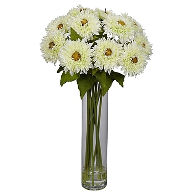 Nearly Natural 1246-WH Sunflower with Cylinder Floral Arrangements, White