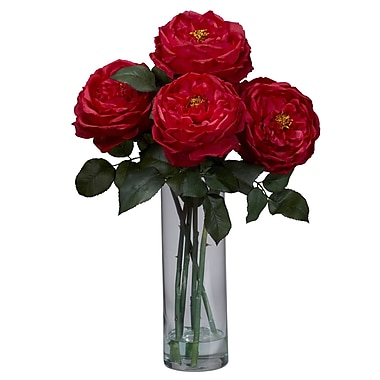 Nearly Natural 1247-RD Fancy Rose with Cylinder Floral Arrangements, Red