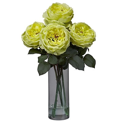 Nearly Natural 1247-YL Fancy Rose with Cylinder Floral Arrangements, Yellow