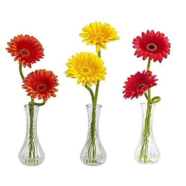 Nearly Natural 1248-A1 Gerber Daisy Set of 3, Assorted
