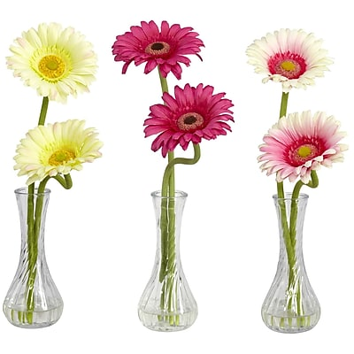 Nearly Natural 1248-A2 Gerber Daisy Set of 3, Assorted