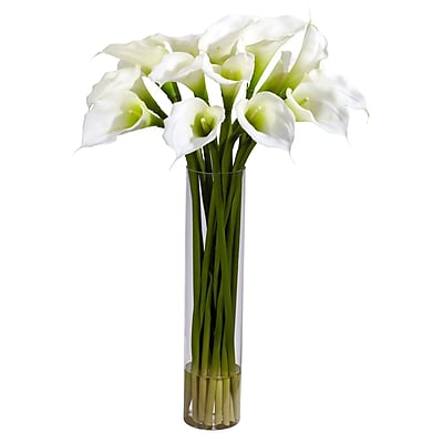 Nearly Natural 1251-CR Calla Lilly with Cylinder Floral Arrangements, Cream