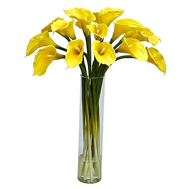 Nearly Natural 1251-YL Calla Lilly with Cylinder Floral Arrangements, Yellow