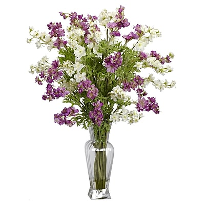 Nearly Natural 1253-AS Dancing Daisy Floral Arrangements, Purple/White